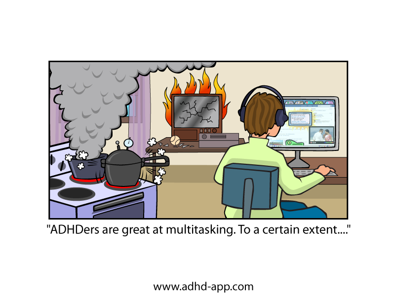 ADHD Multitasking Cartoon